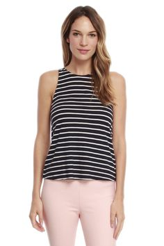 Casual and soft, this racerback tank has an all over striped print and a comfortable fit.