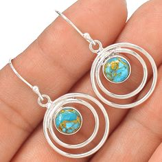Copper Blue Turquoise 925 Sterling Silver Earring Jewelry EE21398 | eBay