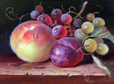 Ilustraciones por Raymond Campbell, bodegones de frutas, aceites Hecho de a bordo