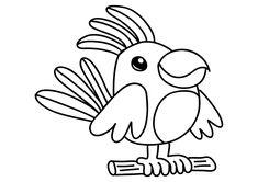 Dibujo de animales para colorear un pájaro. Un loro