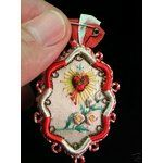 eBay Image 1 Antique Sacred Heart Embroidered Detente, Lot a