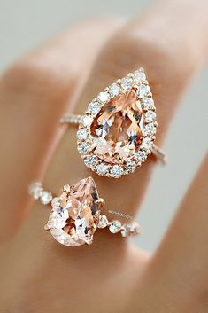 Jewelry Rings morganite engagement rings pear cut halo pave band - Are you sick and tired of diamonds? Consider morganite engagement rings – an excellent, original alternative to diamonds and other gems. Click and read!