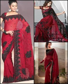 This season, be bold enough to flaunt this vampire-inspired gothic trend – black and red! Red's… Black And Red Saree, Red Sari, Gothic Trends, Cool Outfits, Fashion Outfits, Color Trends, Lady In Red, Colour Combo, Indian