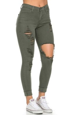 9ac0fb9d3d High Waisted Distressed Skinny Jeans in Olive (Plus Sizes Available)