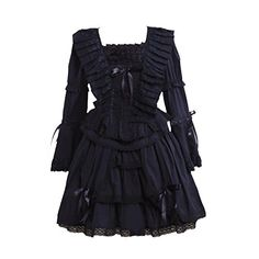 0a3dc85f0c3f Partiss Women's Lace Cotton Gothic Lolita Dress,XXL,Black... https: