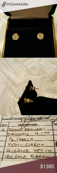 Stunning! Flawless diamond studs with screw posts. .50 CWT round brilliant diamond earrings set in 18K gold. VVSI clarity. G color rating. Luxury item not available for bundling. Jewelry Earrings