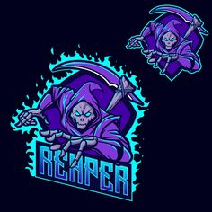 Grim Reaper Esports Logo for Mascot Gaming and Twitch Vector and PNG