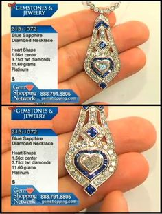 Vintage diamond and sapphire pendant on a diamond necklace from our estate jewelry collection. Center heart shaped diamond is 1.5 cts and this pendant is  platinum.