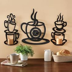 Coffee Cup Wall Clock and Sconce Set – Mi Hermoso Mundo Coffee Cup Crafts, Coffee Cup Art, Coffee Bar Home, Coffee Corner, Kitchen Decor Themes, Home Decor, Elegant Centerpieces, Wooden Art, Cnc