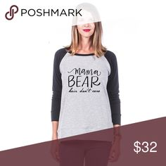 Mama Bear Hair Don't Care Sweatshirt ~ Adorable Mama Bear Hair Don't Care Sweatshirt! Adorable ~ long sleeve light weight sweatshirt 62% poly, 34% rayon, 4% spandex ~ Sizes available in small ~ XL ~ 4 color options ~ this listing is for the black sleeves. Tops Sweatshirts & Hoodies
