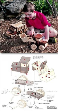 Wooden Front End Loader Plans - Wooden Toy Plans and Projects - Woodwork, Woodworking, Woodworking Tips, Woodworking Techniques Woodworking Projects For Kids, Woodworking Toys, Wood Toys Plans, Wooden Truck, Wooden Baby Toys, Kids Wood, Wooden Crafts, Stuffed Toys Patterns, Handmade Toys