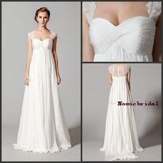 White Lace Empire Waist Wedding Dresses 2016 Elegant Portrait Capped Sleeves Romantic Women Bridal Gowns Sheer Back Plus Size Formal Wear Ladies Dresses Simple Wedding Dresses From Nomicbridal, $122.52| Dhgate.Com