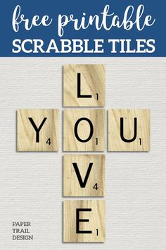 Free Printable Scrabble Letter Tiles Sign. Printable DIY Wall Art Scrabble letters. Party decorations ideas or scrapbook letters. #papertraildesign #scrabbledecor #scrabblebanner #scrabbleprintable