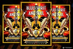 Blues and Soul Live Flyer Template by ThatsDesignStore on Creative Market