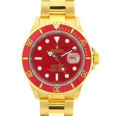 Rolex 18K Yellow Gold Date Submariner Red Dial Black Bezel ❤ liked on Polyvore featuring jewelry, watches, gold watches, gold jewellery, red gold jewelry, rolex watches and black dial watches