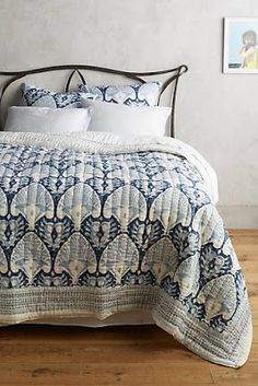 No more boring bedding: brighten things up with bohemian printed quilts and coverlets. Visit Anthropologie and transform your bedroom! Kerry Cassill, Indigo, Modern Farmhouse Bedroom, Farmhouse Style, Farmhouse Decor, Bohemian Bedroom Decor, Eclectic Decor, Bed Spreads, Ikat