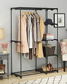 483dc3c0dcd8 Amazon.com  Whitmor Freestanding Portable Closet Organizer – Heavy Duty  Black Steel Frame -