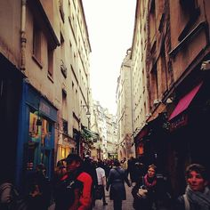 Le Marais in Paris, Île-de-France. Great area open on Sundays. Lots of shops, cafes, and people watching