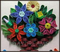 quilled basket of flowers