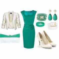 Vestido verde sacó beige