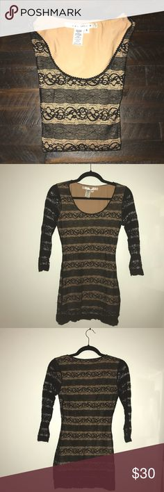 Max Studio Long Sleeve Lace Khaki Top Long sleeves Max Studio black lace with khaki underlay shirt. Sleeves are pure lace and body has the khaki underlay. Max Studio Tops