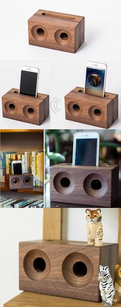 A Black Walnut Wooden Radio Style Speaker iPhone Cell Phone Sound amplifier Cell Phone Stand Holder Mount Holder Amplification Stands for iPhone 77 Plus and other smartphones