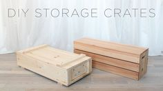How to make wood storage crates. full instructions and drawings coming soon to… Wooden Crates Tv Stand, Crate Tv Stand, Wooden Storage Crates, Crate Bench, Wood Crates, Custom Woodworking, Woodworking Projects Plans, Diy Storage Crate, Storage Bins