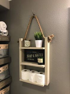 Bathroom Farmhouse Ladder Shelf, Brown Walnut Large Modern Wood Rustic, Medicine Cabinet, Apartment Decor : Ladder Shelf Beach House Decor Bathroom by KnottyByNatureDecor Small Bathroom Storage, Bathroom Shelves, Shiplap Bathroom, Bathroom Ideas, Bathroom Ladder, Bathroom Layout, Bathroom Organization, Bathroom Inspiration, Organization Ideas