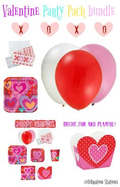"8) Heart Lunch plates measure 8 3/4"", (10) Dessert Plates measures 6 7/8"" in diameter, (20) Napkins, (8) Cups, (8) Treat Boxes, (8) XOXO Invitations, 12 Assorted Color Balloons, (1) Free Banner Sturdy Style plates take anything you can dish out! Lovely for a Valentines Day party at home or in the classroom Bright, fun, playful and elegant color scheme suited to a variety of celebrations."