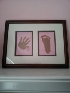 Pink and brown baby room, hand and foot print Nursery Room, Girl Nursery, Nursery Ideas, Bedroom Ideas, Foot Prints, Brown Babies, Baby Art, Pink Brown, Baby Rooms