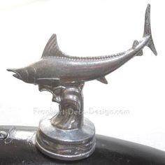 Tuna fish hood ornament topper polished aluminum�Frankart Deco Design #hoodornament #fishing #marinelife #angler
