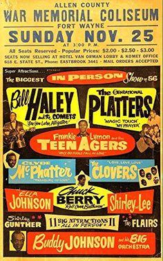"""""""Bill Haley / The Platters."""" Fantastic Print Taken from A Vintage Concert Poster by Design Artist http://www.amazon.co.uk/dp/B00XZYL8KY/ref=cm_sw_r_pi_dp_7Vxxvb0BAJDJ7"""