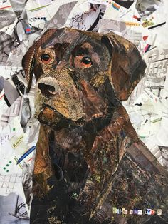 Chocolate Labrador Retriever Collage by SusanLydenArtWorks on Etsy Paper Collage Art, Collage Artwork, Dog Artwork, Dog Quilts, Animal Quilts, Golden Retriever, Labrador Retrievers, Retriever Puppies, Magazine Collage