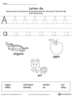 **FREE** Words Starting With Letter A Worksheet.Teach the beginning letter sound by saying the name of each picture and then allow your child to trace the uppercase and lowercase letter A in this printable activity worksheet. Printable Alphabet Worksheets, Phonics Worksheets, Kindergarten Worksheets, Writing Practice Worksheets, Handwriting Activities, Preschool Writing, Preschool Learning Activities, Alphabet Activities, Small Alphabet Letters