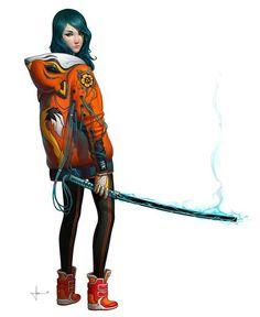 #Арт #Девушка #Рисунок #Красиво #Катана