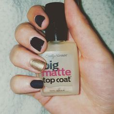 Black & Gold Nails!  I tried out Sally Hansen Big Matte Top Coat on one nail..it's amazing on dark nail polish!