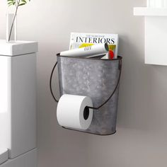 Creative Co-Op Tin Wall Mounted Toilet Paper Holder Bathroom Toilet Paper Holders, Toilet Paper Storage, Toilet Paper Roll Crafts, Unique Toilet Paper Holder, Toilet Paper Roll Holder, Bathroom Toilets, Bathroom Sets, Small Bathroom, Rental Bathroom