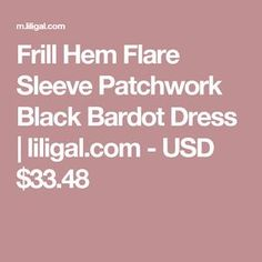 Frill Hem Flare Sleeve Patchwork Black Bardot Dress | liligal.com - USD $33.48 Black Bardot Dress, Club Party Dresses, Club Parties, No Frills, Flare, Casual Dresses, Sleeves, Shopping, Scrappy Quilts