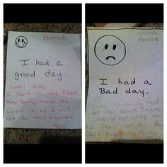 """Pin for Later: Try Not to Laugh Hysterically at These Notes Home From School Two-Time Offender """"I had a good day until 11:00. I spit on the floor . . . """" """"I had a bad day. Was throwing food at the lunch table . . . """""""