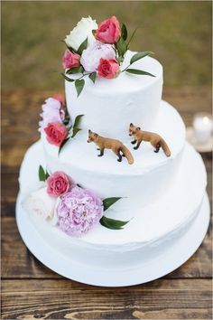 wedding foxes cake toppers