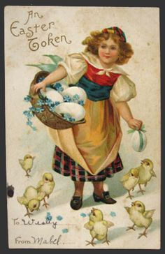 Young Girl with Chicks & Eggs Easter Postcard