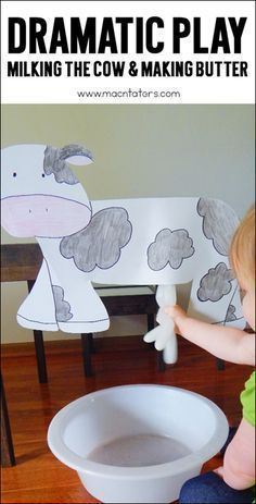 This dramatic play milking the cow activity is perfect for a farm theme for toddlers, preschoolers, and kindergarteners. They will learn how farmers milk their cows and will be practicing their fine motor skills. #cows #milk #kids #pretendplay