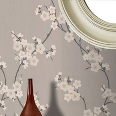Cherry Blossom Taupe / Charcoal Wallpaper by Graham and Brown Dark Grey Wallpaper, Charcoal Wallpaper, Asian Wallpaper, Girl Wallpaper, Flower Wallpaper, Wallpaper Ideas, Accent Wallpaper, Painted Wallpaper, Glitter Wallpaper