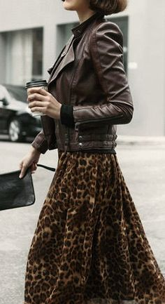 Leopard skirt and leather jacket. Faux animal print
