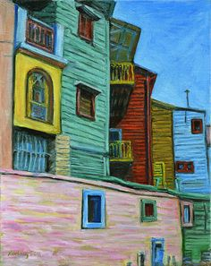 'Geometric Colours II' © Xueling Zou; gift, greeting cards, posters, prints,  fine art, original art, corporate art, home decor, wall image, wallpaper, $6.00, for sale, landscape, painted houses, south america, buenos aires, la boca, argentina, architecture, buildings, cityscape, colorful, colourful, oil,