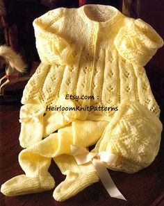 Baby Boys or Girls Adorable Pram Set: Jacket, Leggings, Bonnet & Mitts to knit in 4 Ply (US Baby/ Light DK) yarn. Pretty eyelet lace pattern, in 4 sizes. CHEST SIZE 16-22/ 41-56cm YOU WILL NEED 4 ply (Baby/ Light DK) yarn, 3.25mm, 3mm, 2.75mm knitting needles, 5 buttons, stitch holders, elastic, ribbon. YOU WILL RECEIVE A PDF file of the original vintage pattern. NOT the finished item or the original pattern. (It will not arrive in the post). This pattern is an INSTANT DOWNLOAD p...