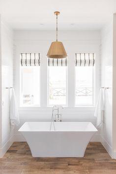 Modern farmhouse bathroom white bathroom shiplap - if I can't have my black window frames then those shades are mine!