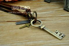 Retro necklace Bronze Key Necklace Men's Leather by GiftShow, $6.99 Beautiful handmade bracelet, the best gift
