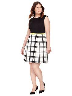 Sandra Darren | Checkered Print Dress With Yellow Belt | Gwynnie Bee