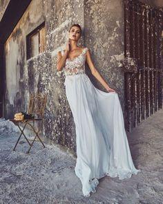 moderne sexy col transparent longue mousseline de soie robe de mariée